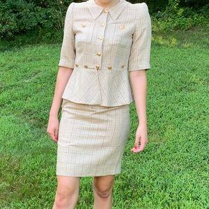 Vintage Rena Lange Beige Tan Military Tweed Skirt